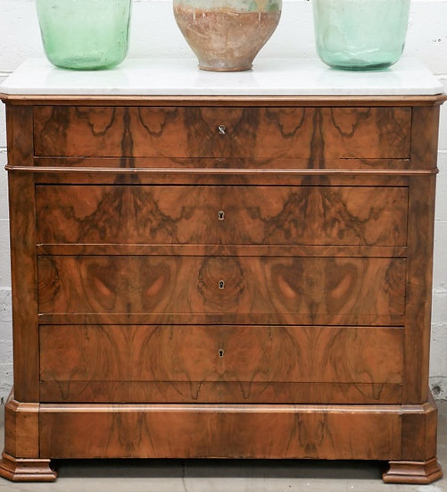 Louis-Philippe Chest of Drawers - White Marble Top