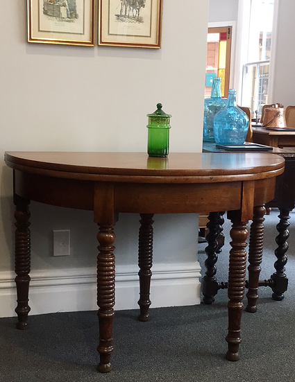 Half-Moon to Round Walnut Dining Table - SOLD