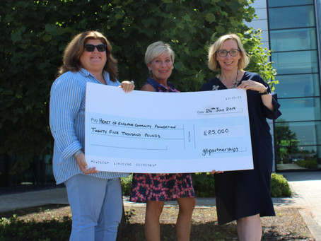 First Cheque to the Heart of England Charitable Foundation