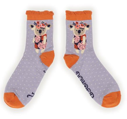 Powder - Floral Koala Ankle Socks