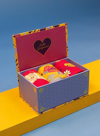 Powder - Ladies Delicate Floral Mustard Sock Box