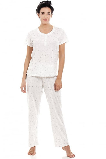 Camille - White Lightweight Glitter Heart Pyjama Set