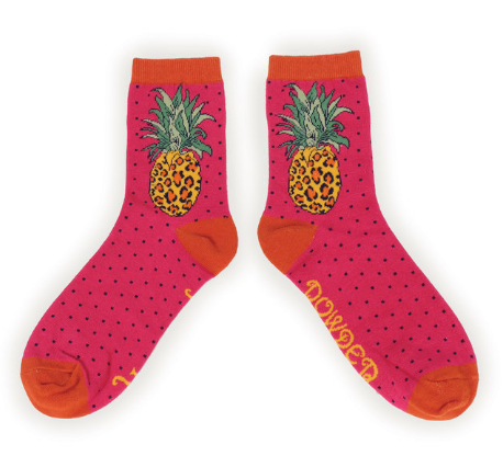 Powder - Leopard Pineapple Ankle Socks