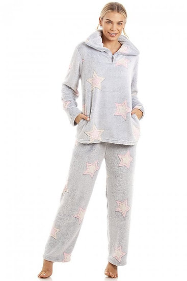 Camille - Luxurious Supersoft Fleece Light Grey Star Print Pyjama Set