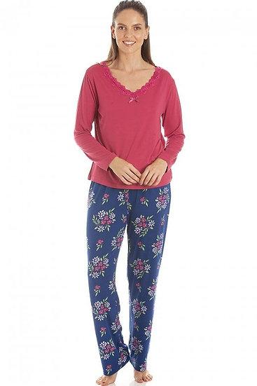 Camille - Raspberry Floral Print Spandex Pyjamas