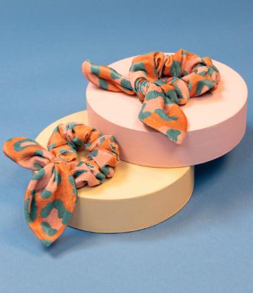 Powder - Velvet Scrunchies (Pack of 2) Leopard Print