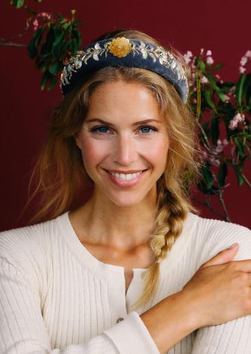 Powder - Padded Headband Velvet Beaded