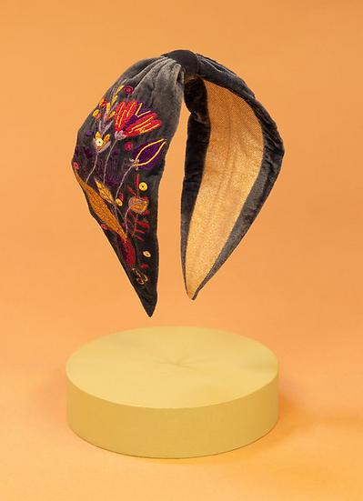 Powder - Velvet Headband Floral Embroidered