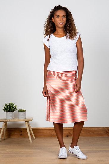 Lily & Me - Summer Stripe Beach Midi Skirt Papaya