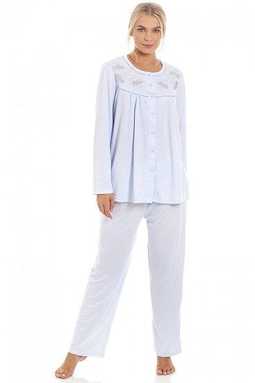 Camille - Classic Light Blue Long Sleeve Full Length Pyjama Set