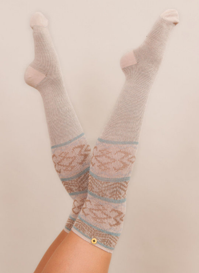 Powder - Fair Isle Long Socks Cream