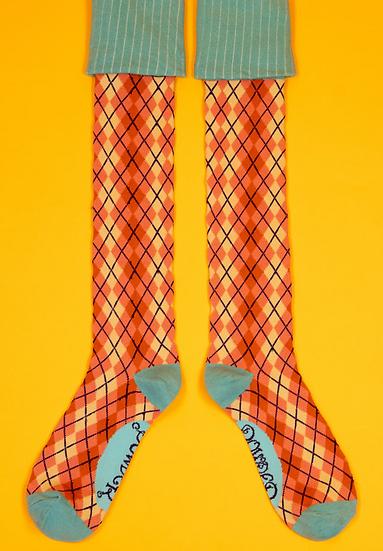 Powder - Pink Argyll Boot Socks
