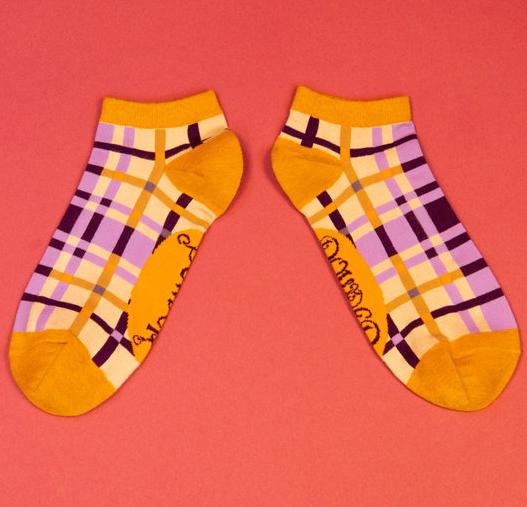 Powder - Purple Check Trainer Socks