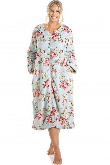 Camille - Katie Blue Floral Zip Robe