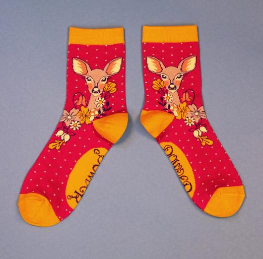 Powder - Floral Deer Ankle Socks
