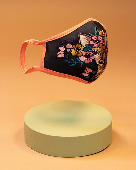 Powder - Embroidered Face Covering - Floral Doe
