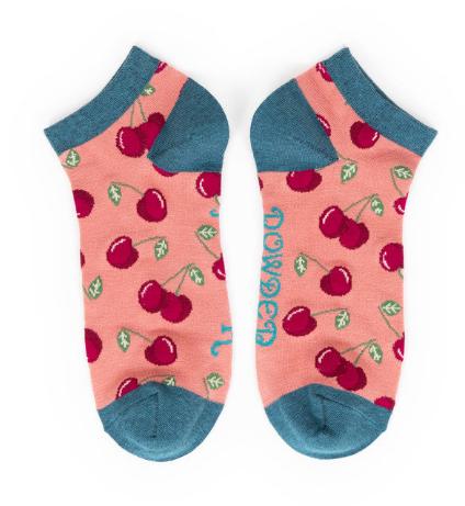 Powder -Cherries Trainer Socks
