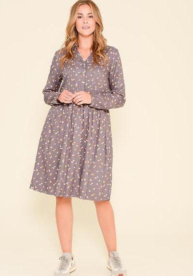 Brakeburn - Grey Dotty Shirt Dress