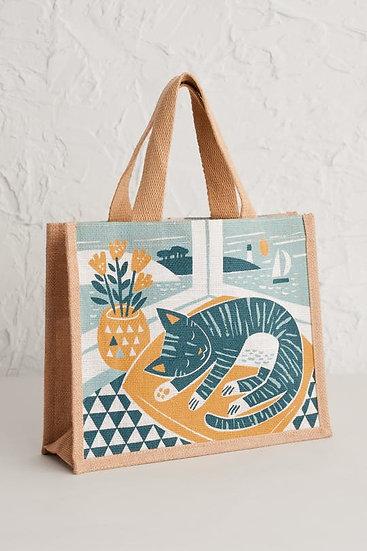 Seasalt - Snoozing Cat Jute Bag