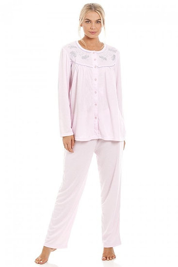 Camille - Classic Light Pink Long Sleeve Full Length Pyjama Set