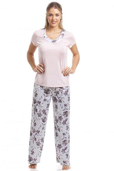 Camille - Pink Short Sleeve Floral Pyjama Set
