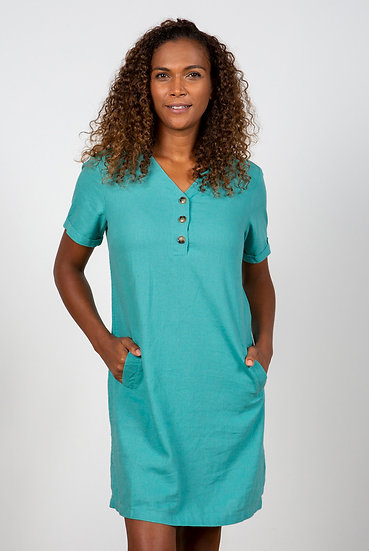 Lily & Me - Button Detail Dress Turquoise
