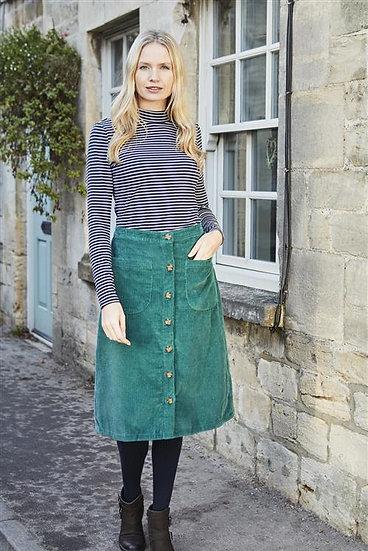 Lily & Me - Button Through Skirt Pine Green