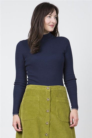 Lily & Me - Ribbed Polo Neck Top Navy