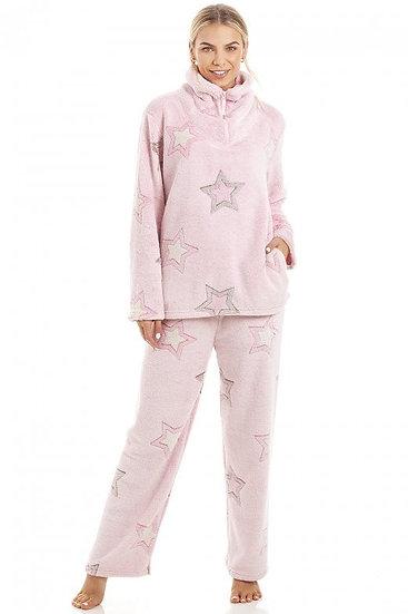 Camille - Luxurious Supersoft Fleece Light Pink Star Print Pyjama Set