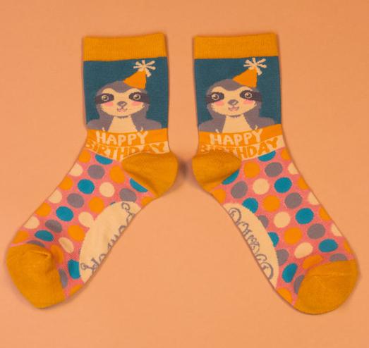 Powder - Happy Birthday Sloth Ankle Socks