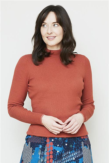 Lily & Me - Ribbed Polo Neck Top Brick