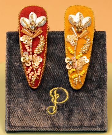 Powder - Jewelled Hairclips (Pack of 2) Coral