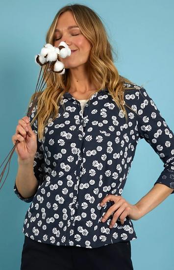 Weird Fish - Ginny Organic Cotton Printed Jersey Shirt Navy