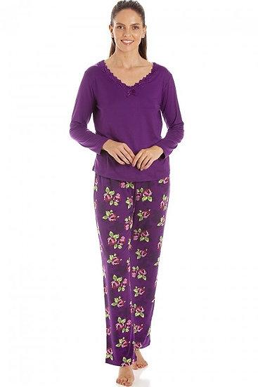 Camille - Purple Floral Print Spandex Pyjamas