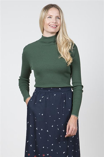 Lily & Me - Ribbed Polo Neck Top Green