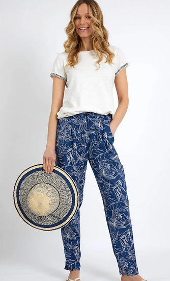 Weird Fish -  Tinto Printed Viscose Trousers Ensign Blue