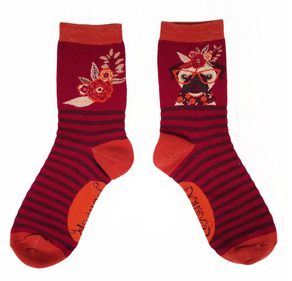 Powder - Floral Pug Ankle Socks