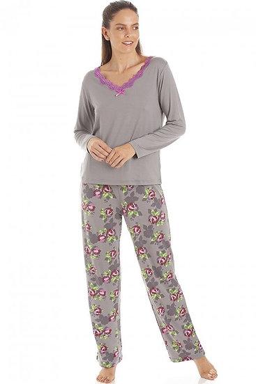 Camille - Grey Floral Print Spandex Pyjamas