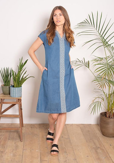 Brakeburn - Embroidered Denim Dress