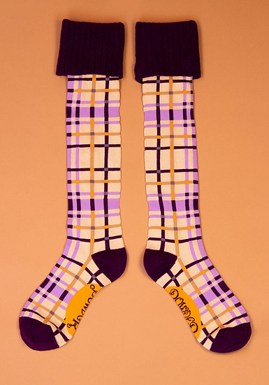 Powder - Purple Check Boot Socks