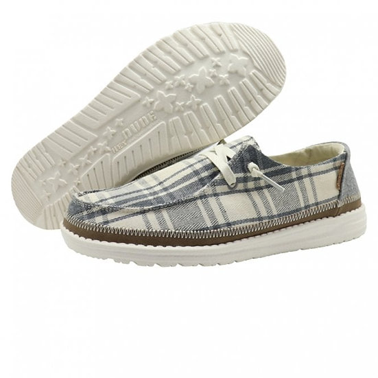 Hey Dude Shoes- Wendy Plaid Textile Grey