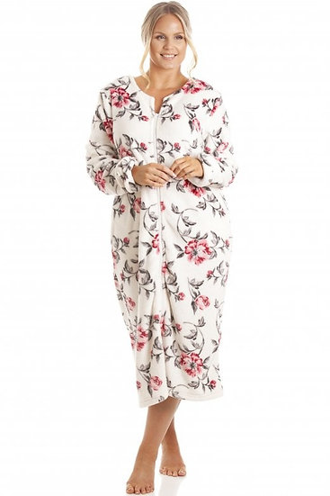 Camille - Katie Ivory Floral Zip Robe