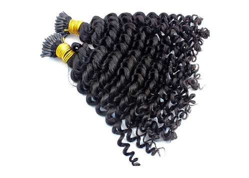 I-Tip Hair Extensions.100% Brazilian Remy Hair. Kinky Curly. Colour(s) 1b