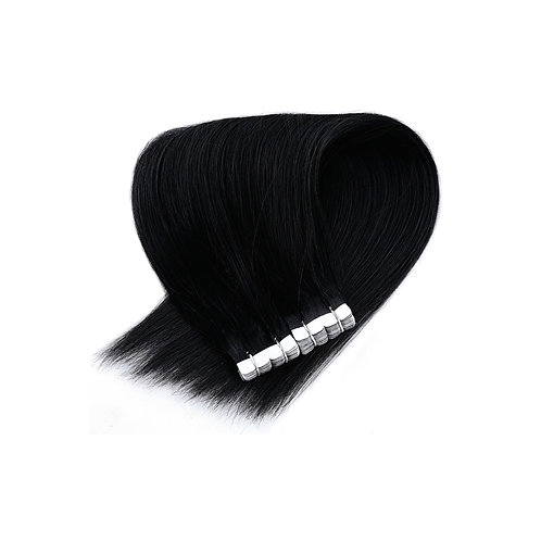 Mini Tape In Extensions. 100% Human Remy Hair. Colour(s) 1(Jet Black).
