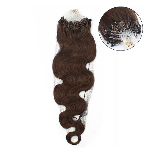 Micro Loop Hair Extensions' Wavy. 100% Human Remy Hair. Colour(s) 2 (Darkest BR)
