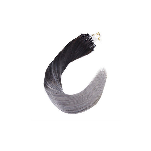 Micro Loop Hair Extensions. 100% Human Remy Hair. Colour(s) 1b/SilveryBlu.
