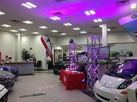 decorative truss with moving heads and LED tv's