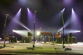 stage setup with microphones