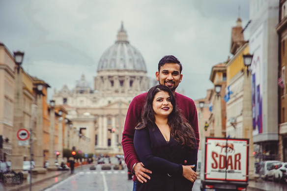 Love in the rain-washed streets of Rome