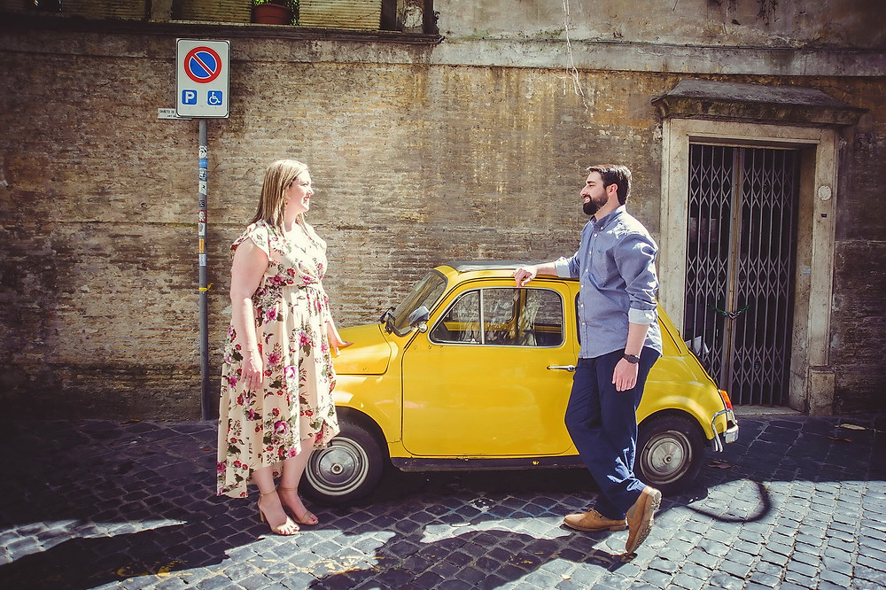 love story photo shoot in Rome by destination wedding photographer in Italy